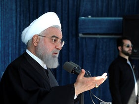 President Hassan Rohani speaks at a public gathering in the city of Rafsanjan in Iran's southwest Kerman province, November 11, 2019.