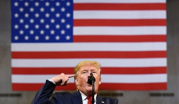 """Donald Trump speaks during a """"Keep America Great"""" rally in Bossier City, Louisiana, November 15, 2019"""