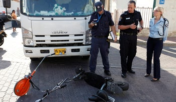 Police at the seen of an accident between a truck and a scooter, Tel Aviv, September 18, 2011.