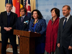 German, French, British, Polish and Belgian representatives at the UN speak to the press at the United Nations Headquarters in New York, November 20, 2019.
