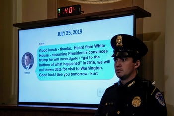 A text message is displayed during Gordon Sondland's testimony, Washington, November 20, 2019