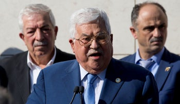 Palestinian President Mahmoud Abbas gives a speech to mark the 15th anniversary of the death of Yasser Arafat in Ramallah, November 11, 2019.