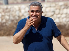 Labor leader Amir Peretz during a tour of the southern Israeli town of Netivot on August 26, 2019.