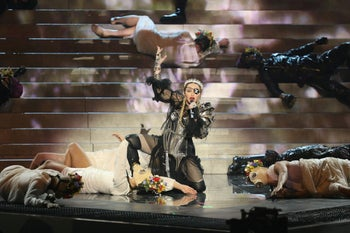Madonna performs during a guest appearance at the Grand Final of the 2019 Eurovision Song Contest in Tel Aviv, Israel, May 19, 2019.