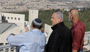 Prime Minister Benjamin Netanyahu during a visit to Alon Shvut, in the Gush Etzion settlement block, in the the West Bank, on Tuesday, November 19, 2019.