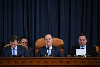 House Intelligence Committe chair, Adam Schiff, speaks during impeachment proceedings against Donald Trump, November 21, 2019.