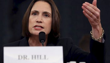 Fiona Hill, the National Security Councils former senior director for Europe and Russia testifies before the House Intelligence Committee, November 21, 2019 in Washington, DC