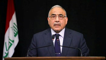 Prime Minister Adil Abdul-Mahdi gives a televised speech in Baghdad, October 9, 2019.