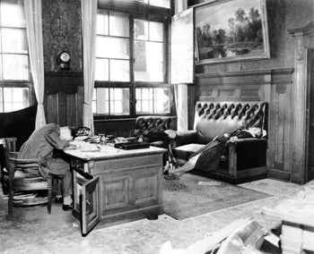 Leipzig's Deputy Mayor Ernst Kurt Lisso, his wife Renate Stephanie and their daughter Regina after committing suicide by cyanide in the Leipzig New Town Hall to avoid capture by American soldiers.