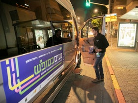 One of the public minibuses that served routes in Tel Aviv on a Shabbat for the first time on November 22, 2019.