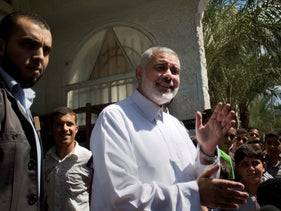 Ismail Haniyeh speaks to the press after the Friday noon prayer in Gaza City, September 26, 2014.
