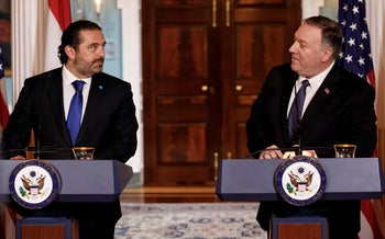 Mike Pompeo and Saad Hariri speak during a news conference at the State Department in Washington, August 15, 2019.