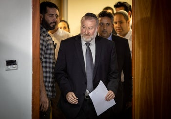 Attorney General Avichai Mendelblit arrives at a press conference to announce indictments against Netanyahu, Jerusalem, November 21, 2019.