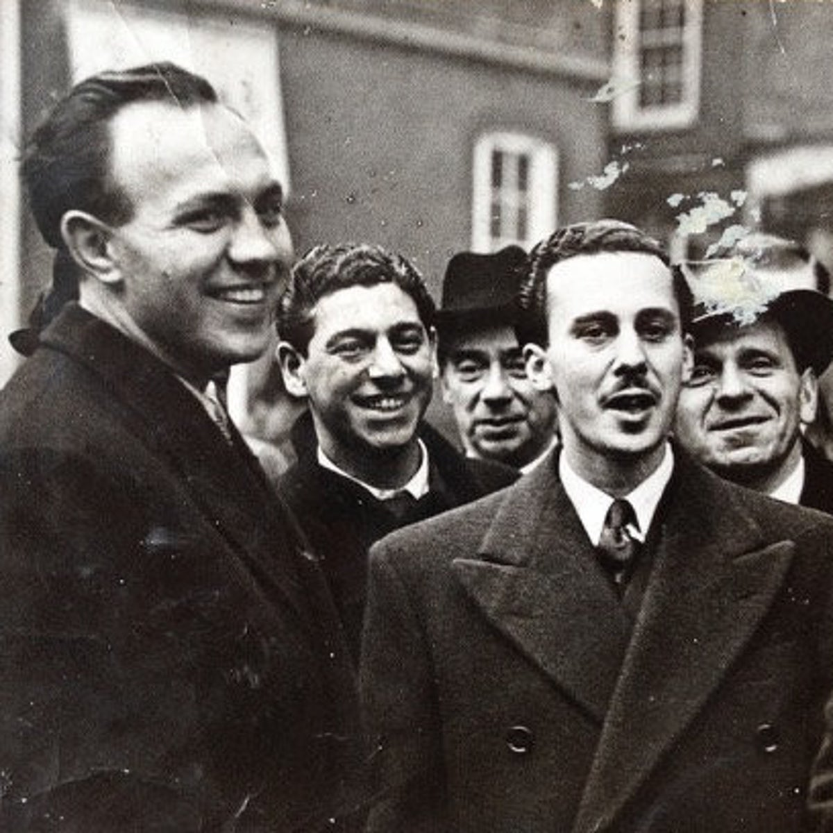 The 43 Group members Gerry Flamberg, foreground left, and Jonny Wimborne, foreground right, moments after being acquitted for the attempted murder of fascist John Preen in London, late 1940s.
