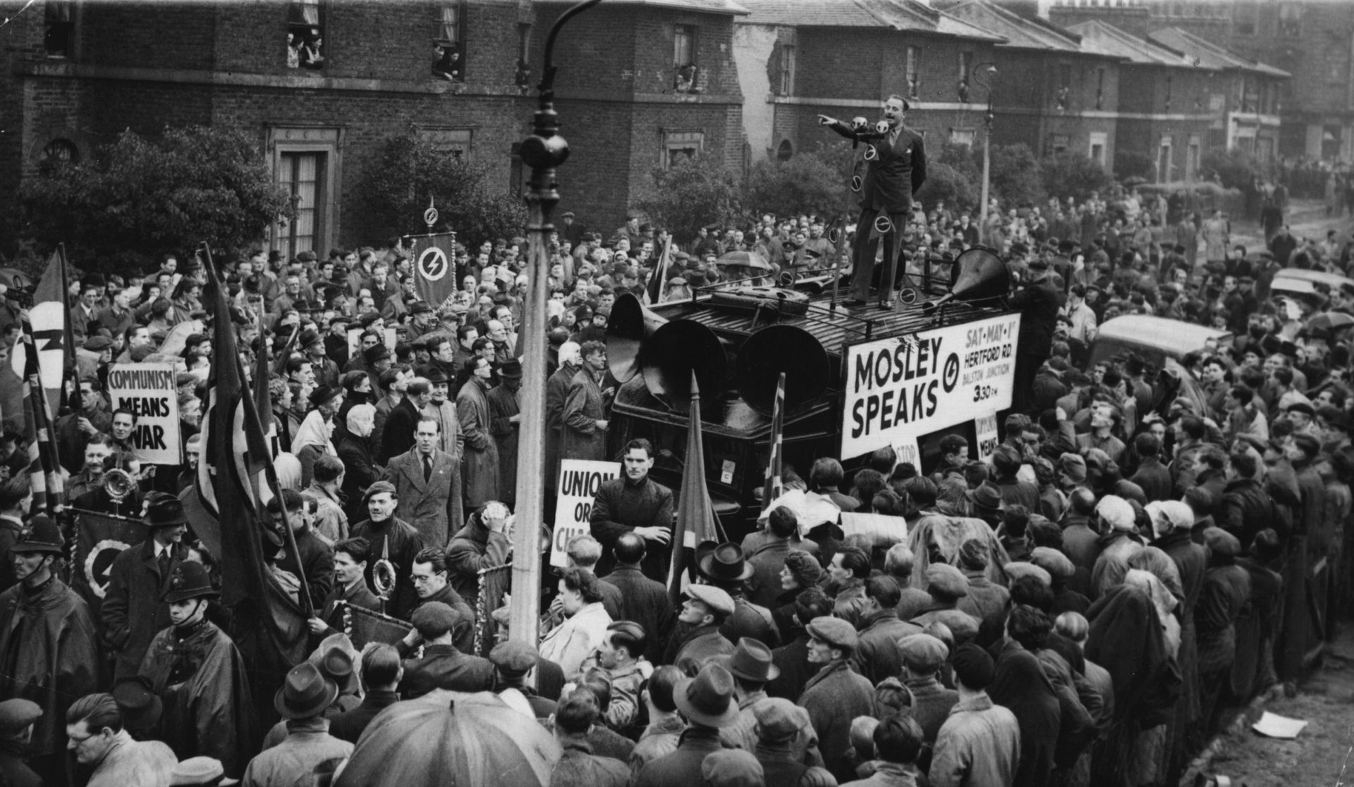 English fascist leader Oswald Mosley addresses a large crowd in Dalston, London, May 1, 1948.