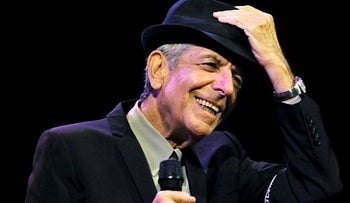 In this April 17, 2009, file photo, Leonard Cohen performs during the first day of the Coachella Valley Music & Arts Festival in Indio, Calif