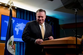 U.S. Secretary of State Mike Pompeo delivers a statement on the Trump administration's position on Israeli settlements at the State Department in Washington, U.S., November 18, 2019