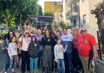 Tel Avivians celebrating the launch of the first Shabbat bus service in the city, November 23, 2019.