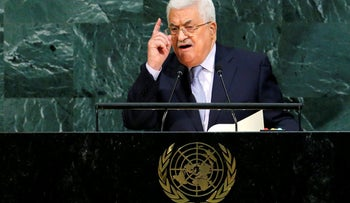 Mahmoud Abbas speaks at the UN General Assemble in September 2017.