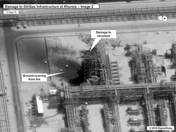 A satellite image showing damage to Aramco oil infrastructure at Khurais, Saudi Arabia. Released by the U.S Government on September 15, 2019.