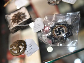 Exhibits from the Nazi era in a cupboard at the auction house Hermann Historica in Munich,  November 20, 2019.