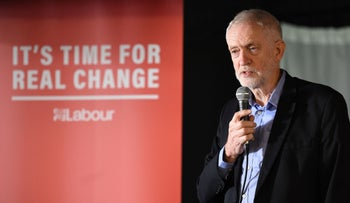 Britain's Opposition Labour party leader Jeremy Corbyn speaks at an election campaign event in Renishaw, northern England on November 25, 2019.