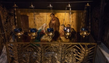 The Holy Manger in the Basilica of Santa Maria Maggiore in Rome, Italy. Part of the crib will be displayed in Jerusalem before being transferred to Bethlehem.