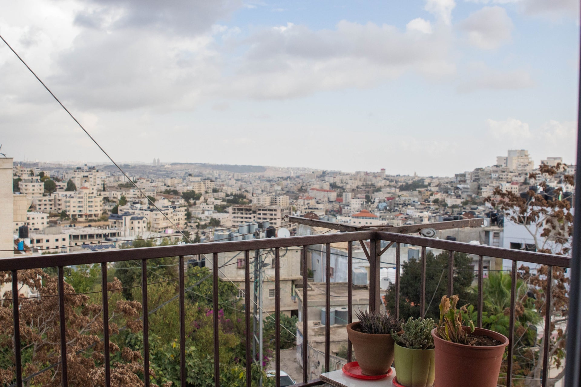 The view from the balcony at Ibrahem Fararja's apartment in Deheisheh. Jerusalem can be seen in the distance.
