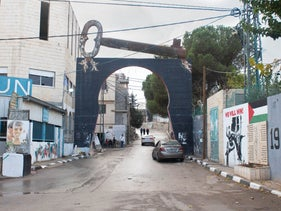 The entrance to Aida refugee camp in the West Bank. The large key is a Palestinian symbol representing the right of return.