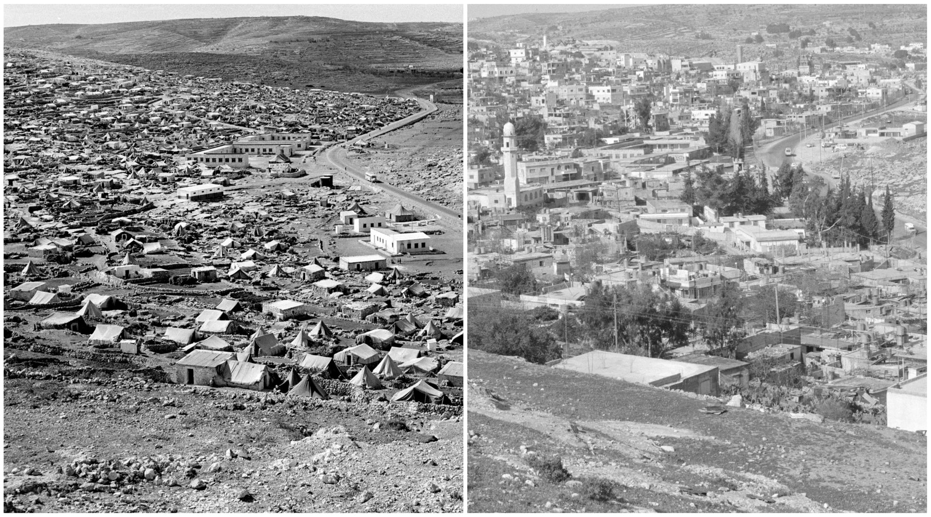 An undated photo of Deheisheh refugee camp in the West Bank after the 1948 Arab-Israeli war, left, and more built-up in 1989.