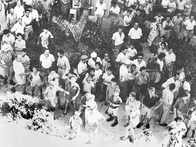 Residents of Wadi Salib demonstrate at Haifa police headquarters, July 9, 1959. All the protests were suppressed.