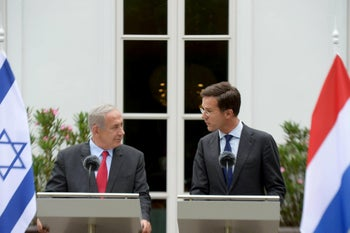 Dutch Prime Minister Mark Rutte and Israel's Benjamin Netanyahu speak to the press in the Hague, September 9, 2016.