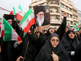 Iranian women taking part in a pro-government demonstration in Tehran, November 25, 2019.