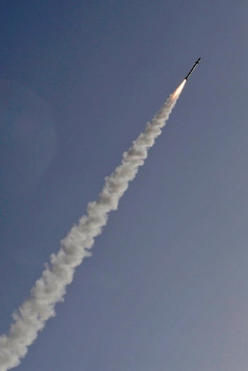 An Israeli interception missile from the Iron Dome defence system, is fired above the southern Israeli city of Ashkelon on November 13, 2019.