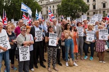 Campaign Against Antisemitism, Jewish community groups and supporters staging a protest against the Labour Party anti-semitism code, London, July 2018.