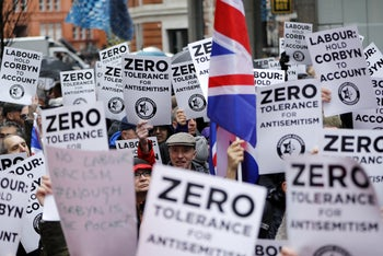 Campaign Against Anti-Semitism demonstration outside the head office of the British opposition Labour Party in central London. April 8, 2018