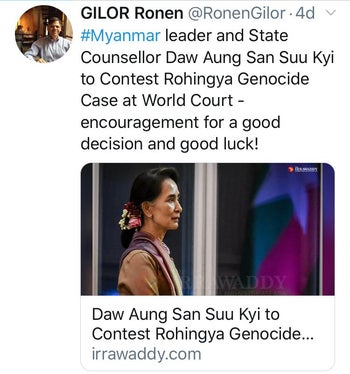 A now-deleted tweet by Israel's ambassador to Myanmar, Ronen Gilor