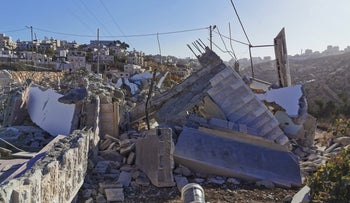 Demolished house of Palestinian suspects in Israeli soldier's murder, Beit Kahil, West Bank, November 28, 2019