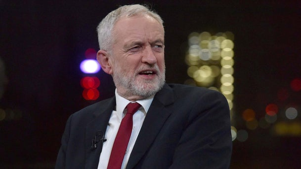 Jeremy Corbyn during a BBC interview in London.