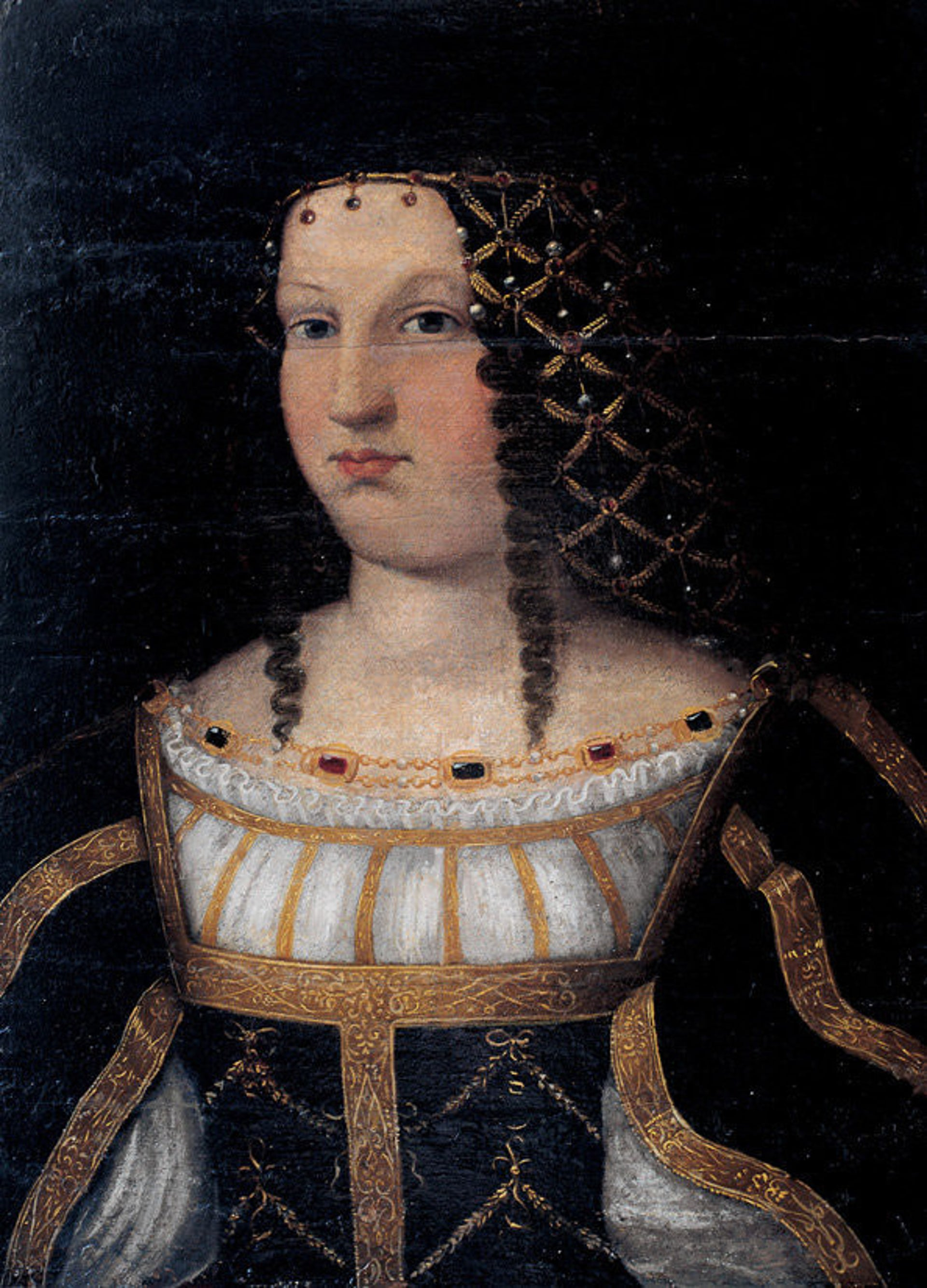 Lucrezia Borgia painted by Bartolomeo Veneto. As Duchess of Ferrara she employed Salomone da Sesso as the court goldsmith.