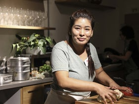 "Jangchup Choedon is preparing her traditional food at ""Kitchen Talks"" workshop in Tel Aviv."