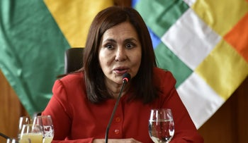 Bolivian Foreign Minister Karen Longaric speaks during a conference with the international press in La Paz, November 28, 2019.