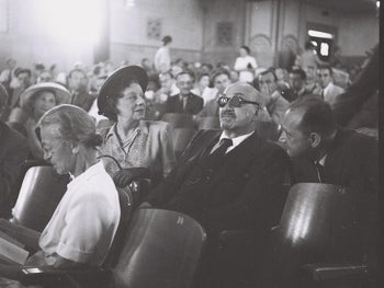 Dr. Chaim Weizmann and his wife Vera at a UNSCOP session in Jerusalem.