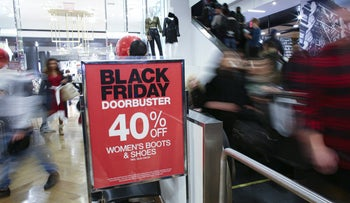 Shoppers descend on Macy's department store in New York for Black Friday sales, November 28, 2019.