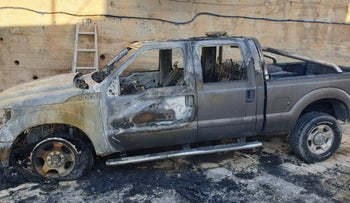 Car vandalized in the in the West Bank village of Taybeh, November 29, 2019.