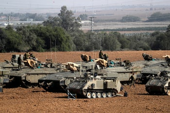 IDF soldiers near the border with Gaza, this month.
