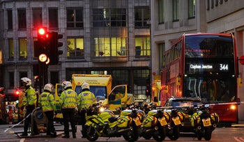 Police and emergency vechiles gather at Leadenhall near London Bridge in central London, on November 29, 2019 after reports of shots being fired on London Bridge.
