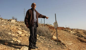 Abu Rayan in the land of Halhul, which was seized to pave the new bypass road, this week.