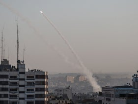 A rocket launched from Gaza toward Israel, November 2019.