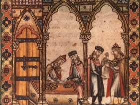 Jewish moneylenders depicted in a French illuminated manuscript from the 13th century.